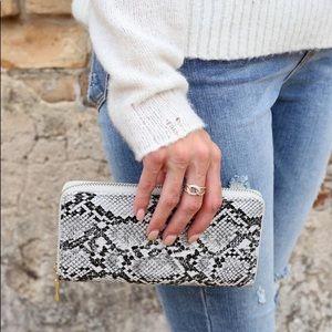 Olivia Faux Snakeprint Wallet Gray